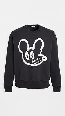 아워 레거시 Our Legacy Rat Print Crew Neck Sweatshirt,Black