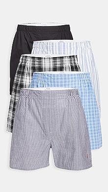 폴로 랄프로렌 Polo Ralph Lauren Underwear Classic Fit Woven Boxers 5 Pack,Polo Black