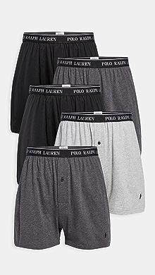 폴로 랄프로렌 Polo Ralph Lauren Underwear 5 Pack Classic Fit Boxer Briefs,Black
