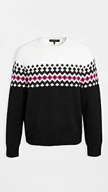 랙앤본 Rag & Bone Lloyd Fair Isle Crew Neck sweater,Black/Multi