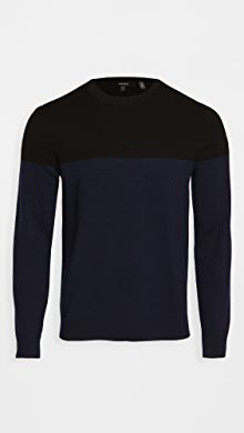 띠어리 Theory Hilles Cashmere Colorblocked Sweater,Black Multi