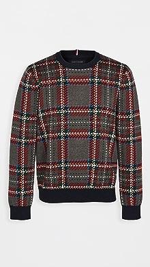 타미 힐피거 Tommy Hilfiger Collins Plaid Crew Sweater,Sky Captain/Multi