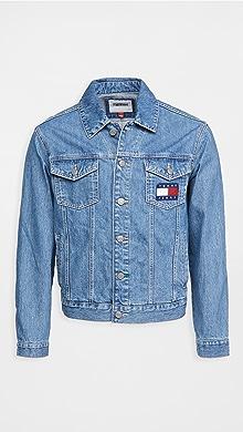 타미 힐피거 Tommy Hilfiger Tommy Jeans Mason Flag Trucker Jacket,Light Indigo Wash
