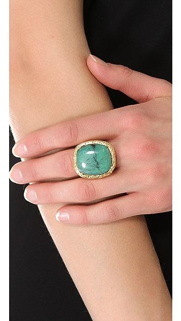 Aurelie Bidermann Miki Dora Rope Ring with Turquoise Stone
