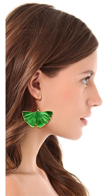 Aurelie Bidermann Ginko Leaf Earrings