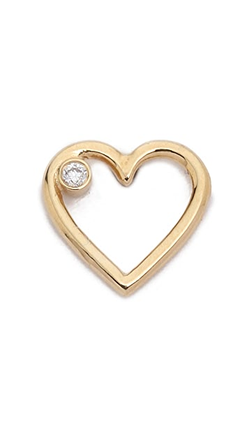 Aurelie Bidermann Fine Jewelry 18k Gold Diamond Love Earring