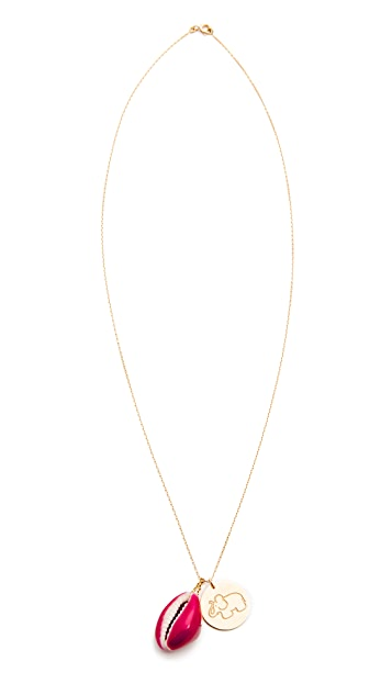 Aurelie Bidermann Fine Jewelry Lacquered Shell Necklace with Elephant Charm