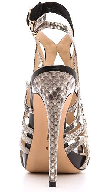Alexandre Birman Suede & Python Sandals
