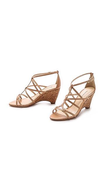 Alexandre Birman Woven Cork Wedge Sandals