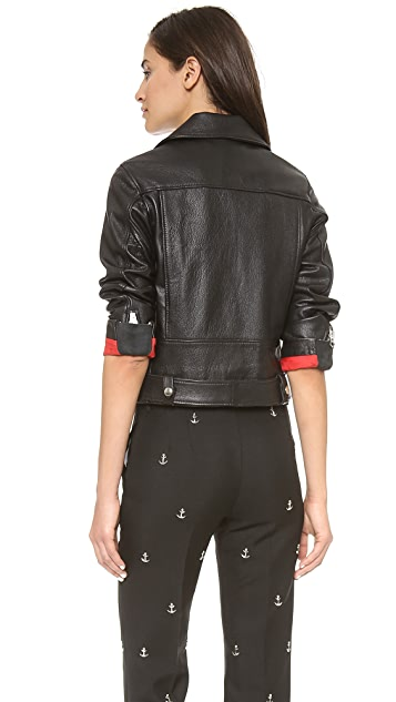 Acne Studios Shrunken Leather Moto Jacket with Denim Belt