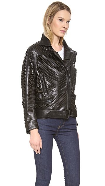 Acne Studios Shredded Leather Motorcyle Jacket