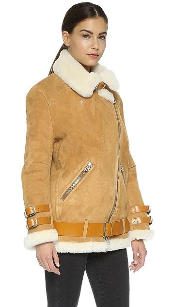 Acne Studios Velocite Suede Shearling Moto Coat