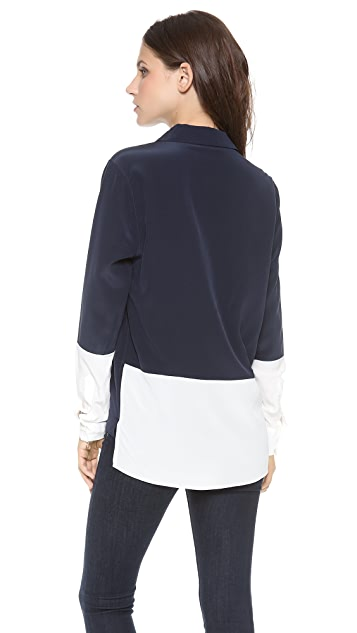 Acquaverde Bicolor Button Down Top
