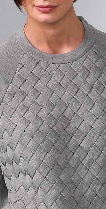 ADAM Long Sleeve Crew Top with Basket Weave
