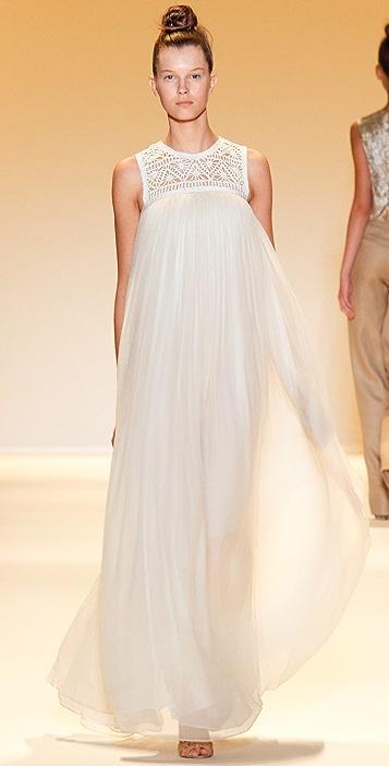 ADAM Chiffon Dress with Lace Yoke