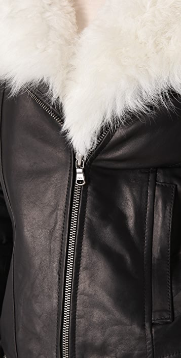 ADAM Leather Aviator Jacket with Shearling Collar