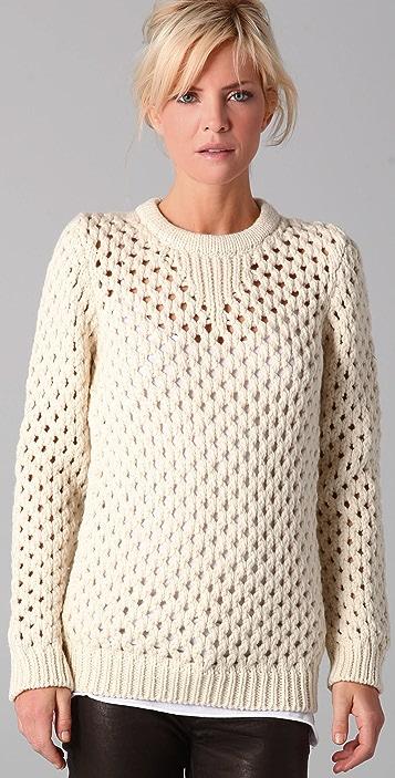 ADAM Open Knit Crew Neck Sweater