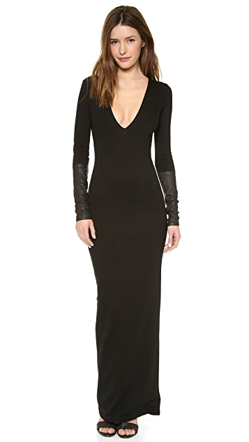 AD Leather Trim Ponte Maxi Dress