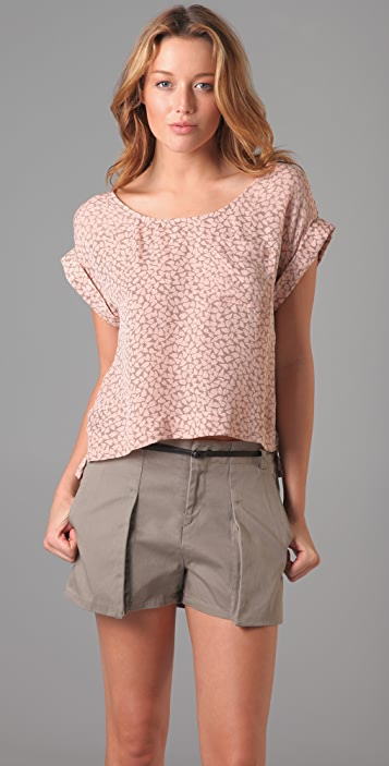 ADDISON Scoop Dotty Print Top