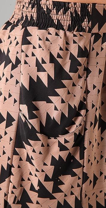 ADDISON Layered Triangle Print Skirt