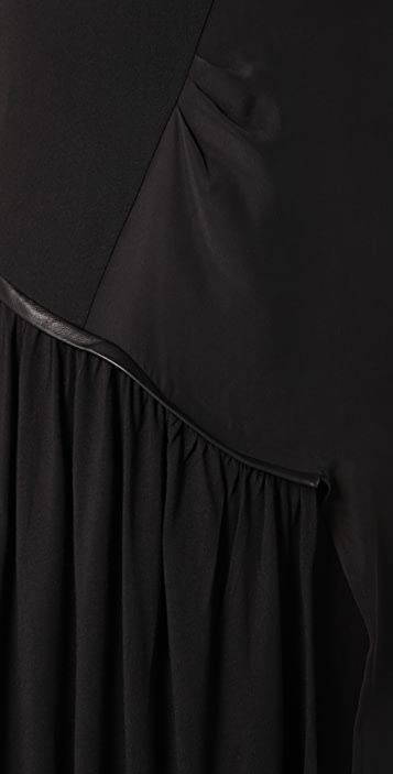 ADDISON Tee Dress with Leather Trim