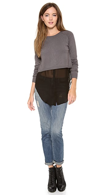 ADDISON Mia Cropped Overlay Sweater
