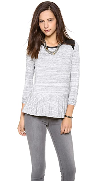 ADDISON Leslie Peplum Tee with Faux Leather Accents