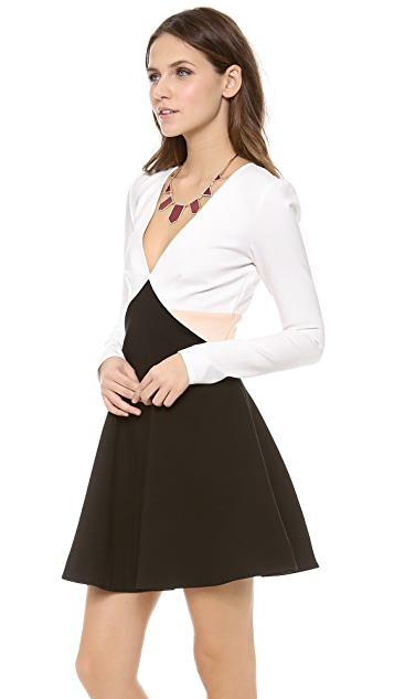 ADDISON Ford Long Sleeve Fit and Flare Dress