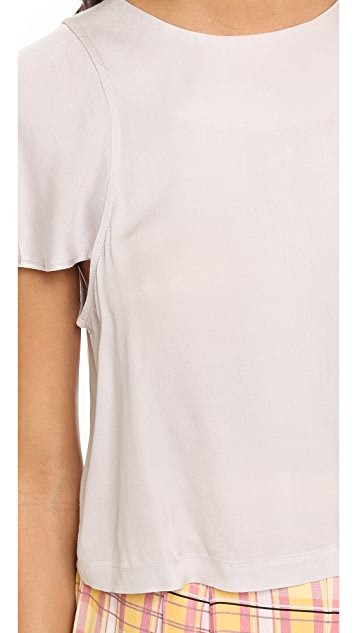 ADDISON ADDISON x WeWoreWhat Cropped Flutter Sleeve Top