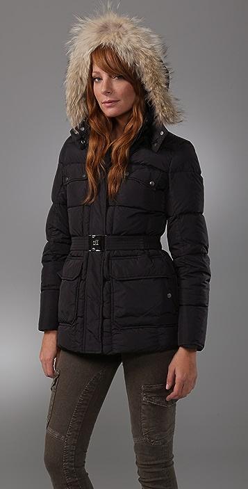 Add Down Gloss Puffer Jacket with Fur Trim