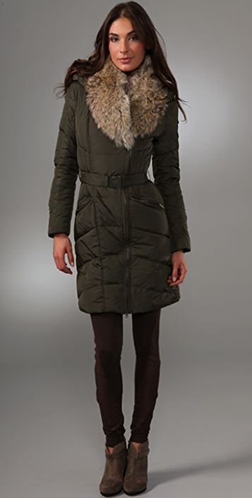Add Down Gloss Puffy Coat with Fur Collar