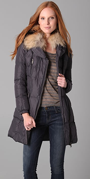 Add Down Nylon Gloss Puffer Coat with Fur Trim