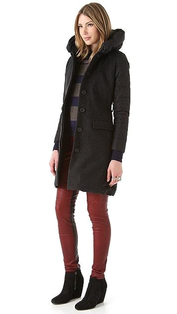 Add Down Black Label Nylon Wool Coat