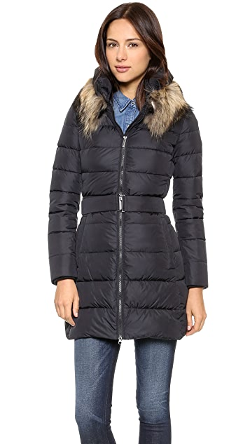 Add Down Down Coat with Fur Collar