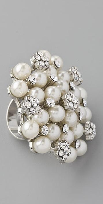 Adia Kibur Crystal Pearl Dot Ring