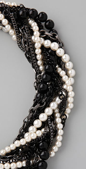 Adia Kibur Pearl & Gunmetal Chain Wrapped Necklace