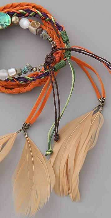 Adia Kibur Feather & Bead Bracelet Set