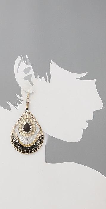 Adia Kibur Flower Drop Hoop Earrings