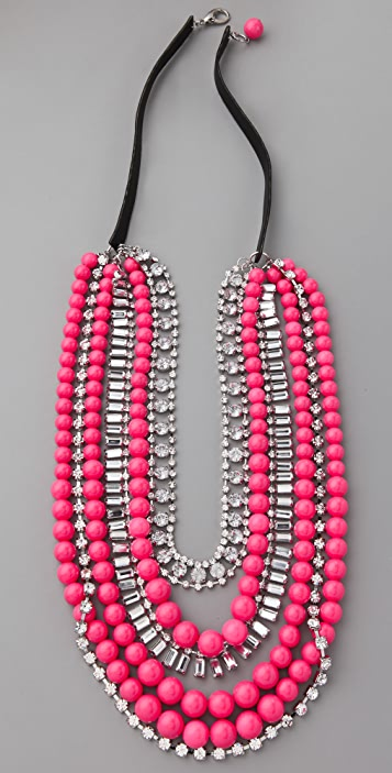 Adia Kibur Multi-Strand Neon Bead & Crystal Necklace