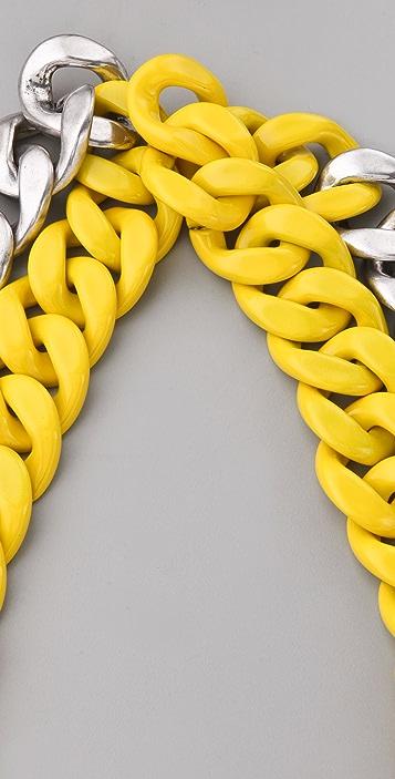 Adia Kibur Silver & Neon Chain Link Necklace