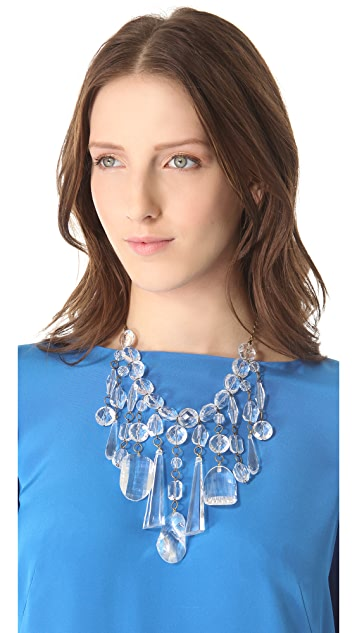 Adia Kibur Clear Stone Statement Necklace