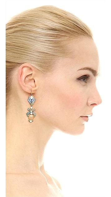 Adia Kibur Floral Crystal Drop Earrings