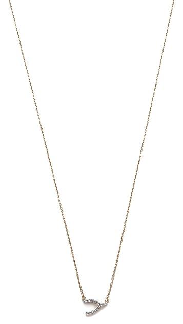 Adina Reyter Super Tiny Pave Wishbone Necklace