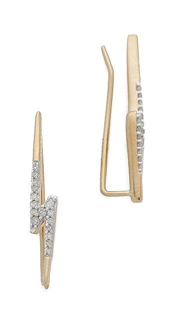 Adina Reyter 14k Gold Pave Lightning Bolt Earrings 3K16prq