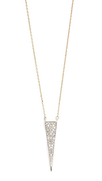 Adina Reyter 14k Gold Long Solid Pave Triangle Necklace