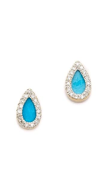 Adina Reyter 14k Gold Turquoise & Diamond Teardrop Earrings