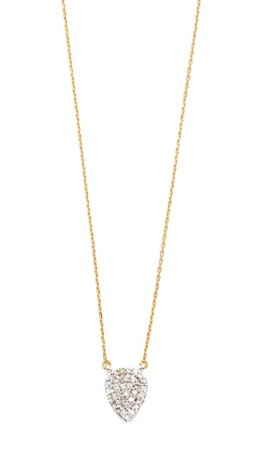 Adina Reyter 14k Gold Solid Pavé Teardrop Necklace
