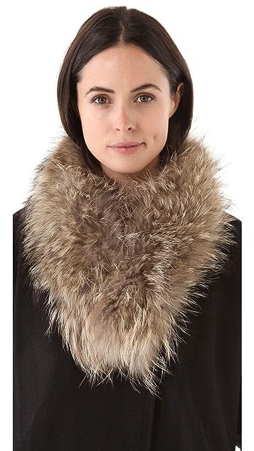 Adrienne Landau Raccoon Fur Clip Scarf