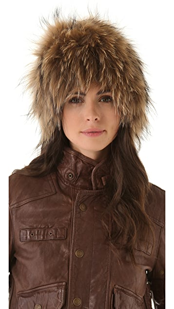 Adrienne Landau Raccoon Fur Knit Hat