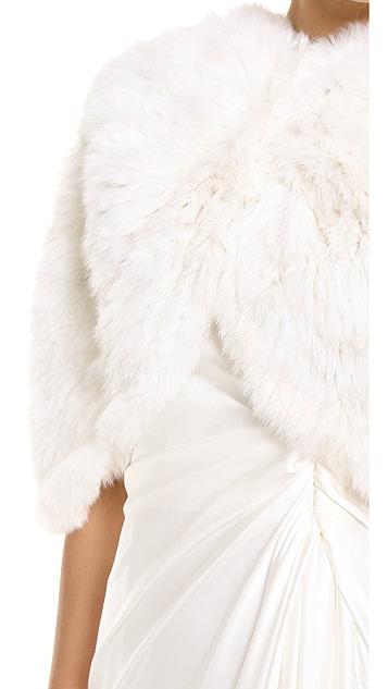 Adrienne Landau Knit Rabbit Capelet